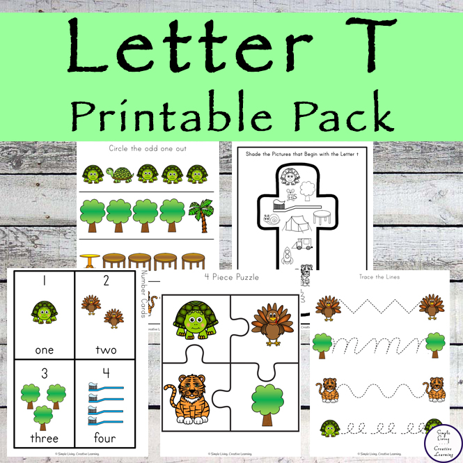 This Letter T Printable Pack is aimed for children aged 3 - 9 and contains a variety of activities; simple math concepts, literacy and hands-on activities.