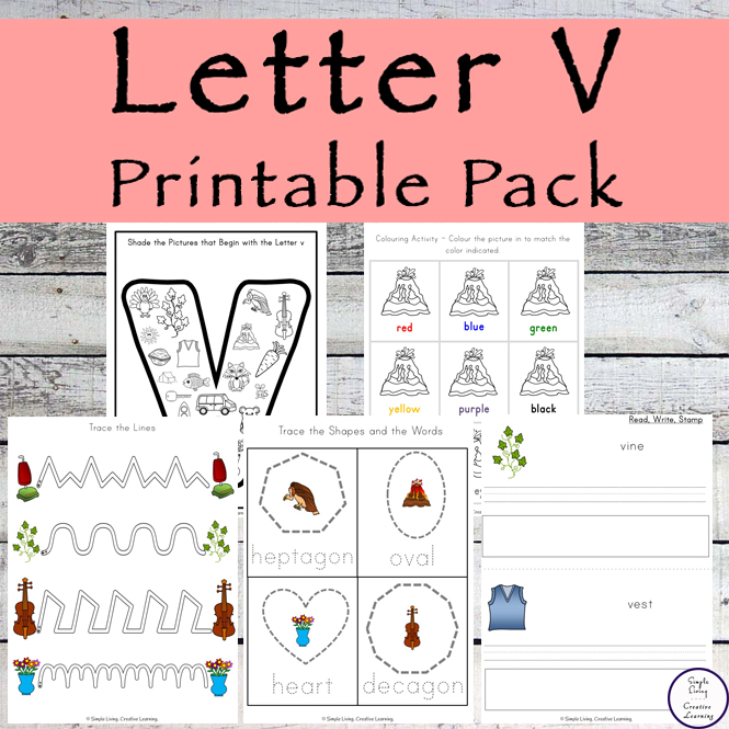 This Letter V Printable Pack is aimed for children aged 3 - 9 and contains a variety of activities; simple math concepts, literacy and hands-on activities.