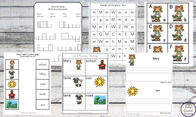 This Mary had a Little Lamb Printable Pack is aimed at children in kindergarten & preschool. It contains a variety of math, literacy & hands-on activities.