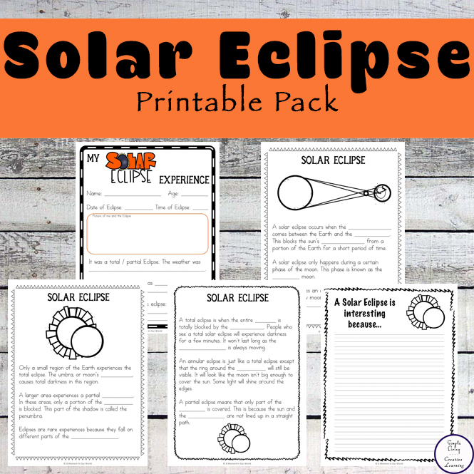This Solar Eclipse Printable Pack will help children learn more about these amazing events, while recording what they see.