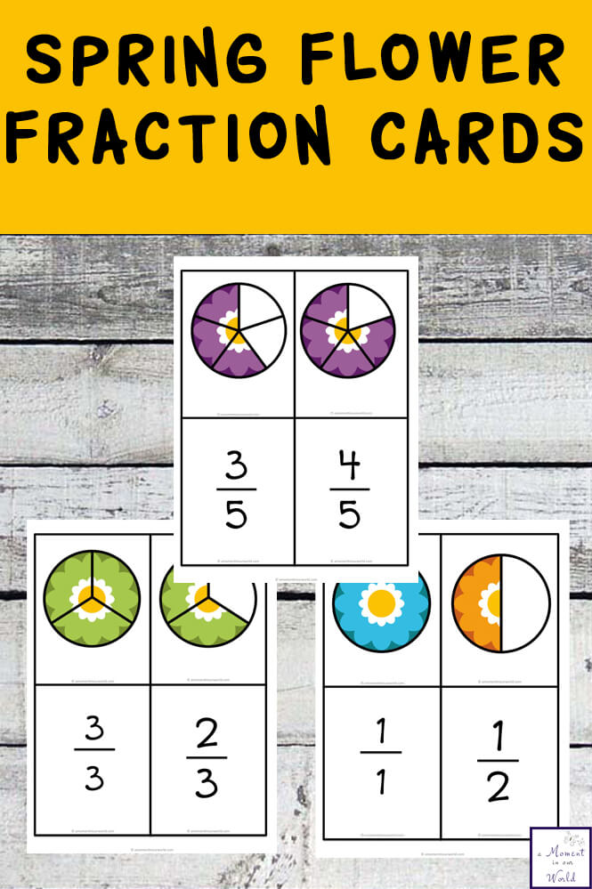 These Spring Fraction Cards are great for introducing kids to simple fractions.