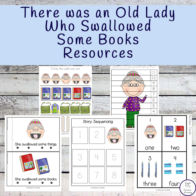 Lots of fun resources to go with the book, There was an Old Lady who Swallowed some Books.