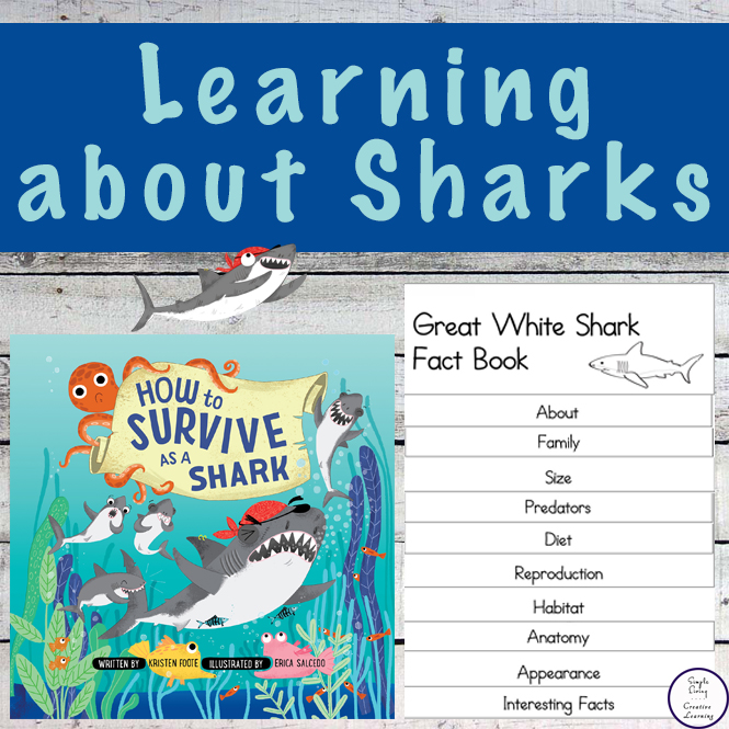 Learn about sharks with the help of the book, How to Survive as a Shark, by Kristen Foote and this printable shark fact book.