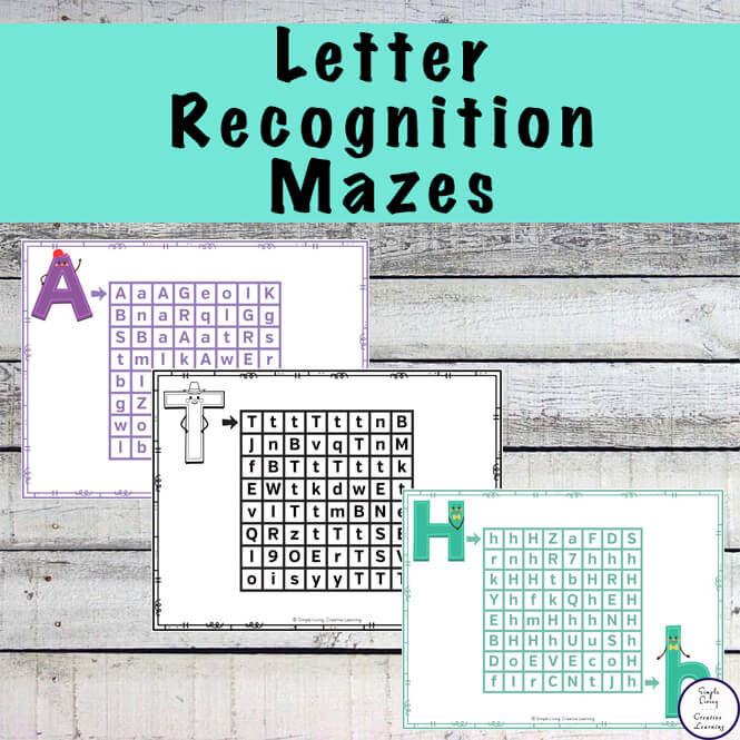 These cute Letter Recognition Mazes are a great way for kids to practice recognising each of the letters of the alphabet. Containing both the uppercase and lowercase of each letter, theses alphabet mazes can be used in a variety of ways.