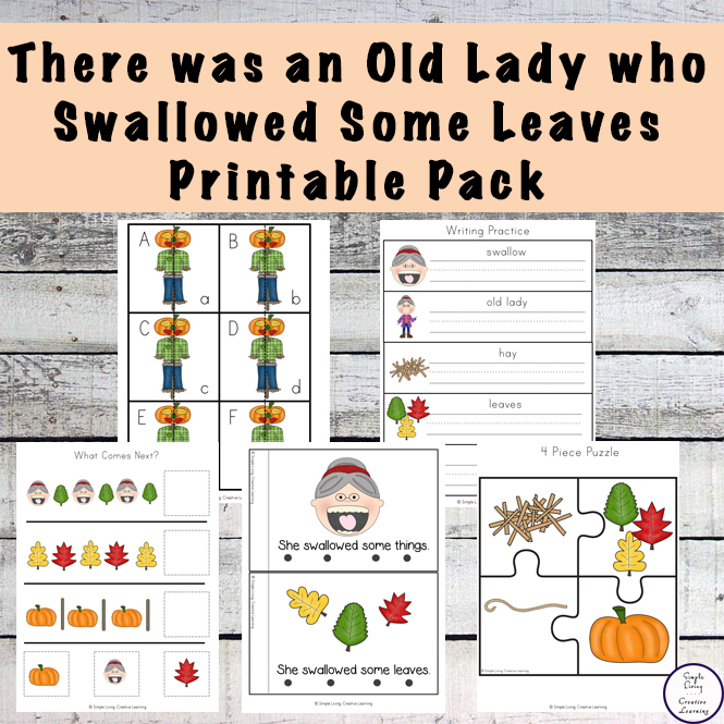 Lots of fun resources to go with the book, There was an Old Lady who Swallowed some Leaves.