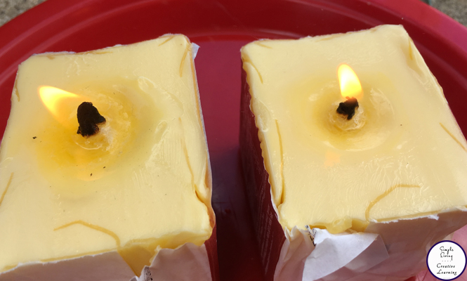 If you are in a blackout or your battery is running our in your flashlight, this butter candle is a great way to add a little light to your room.