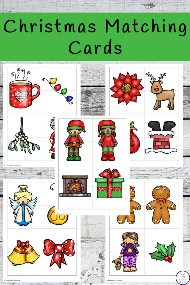 Kids will have fun with these Christmas themed matching cards.