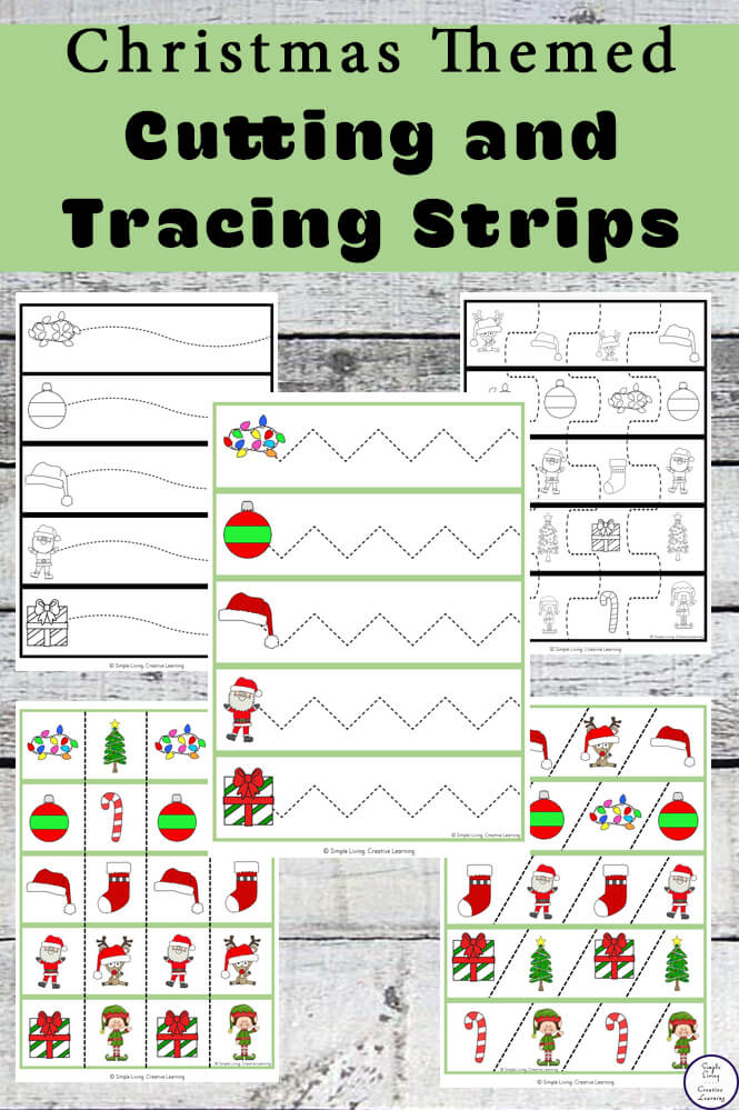These Christmas Tracing and Cutting Strips will have your child enjoying practicing their fine motor skills as well as proper scissor safety.