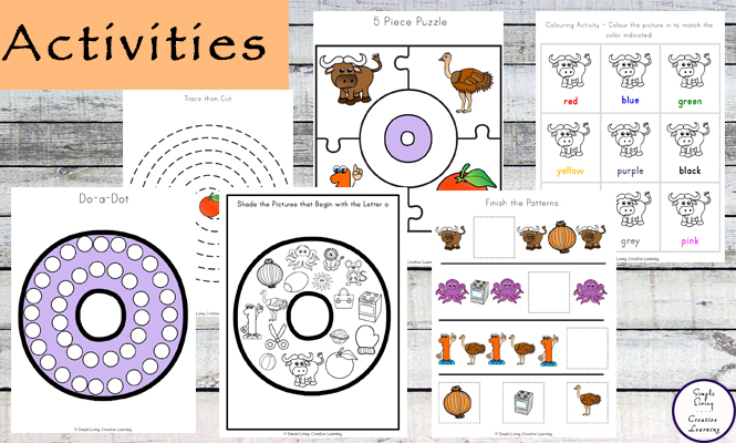 This Letter O Printable Pack is aimed for children aged 3 - 9 and contains a variety of activities; simple math concepts, literacy and hands-on activities.