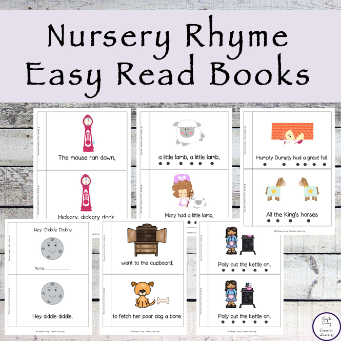These Nursery Rhyme Easy Read Books are easy to prepare and are good for sitting down with your children, helping them learn to read.