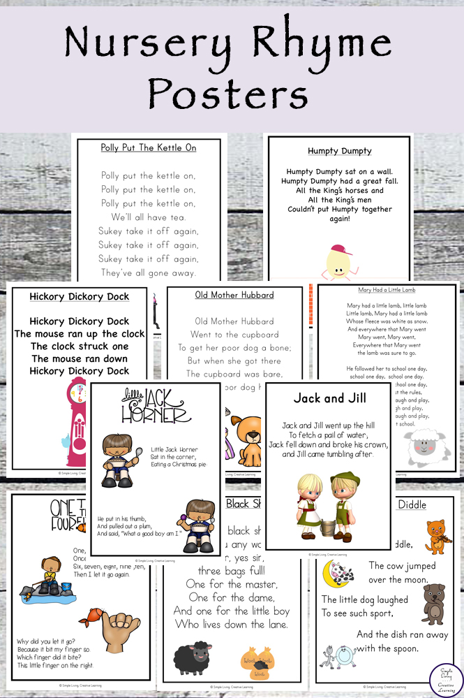 These Nursery Rhyme Posters are easy to prepare and are good for sitting down with your children, helping them learn to read.