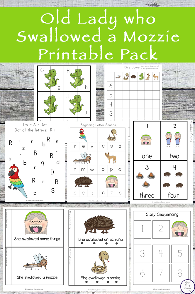 A great free printable pack to go with the book, There was an Old Lady who Swallowed a Mozzie.