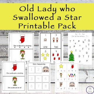 A great free printable pack to go with the book, There was an Old Lady who Swallowed a Star.