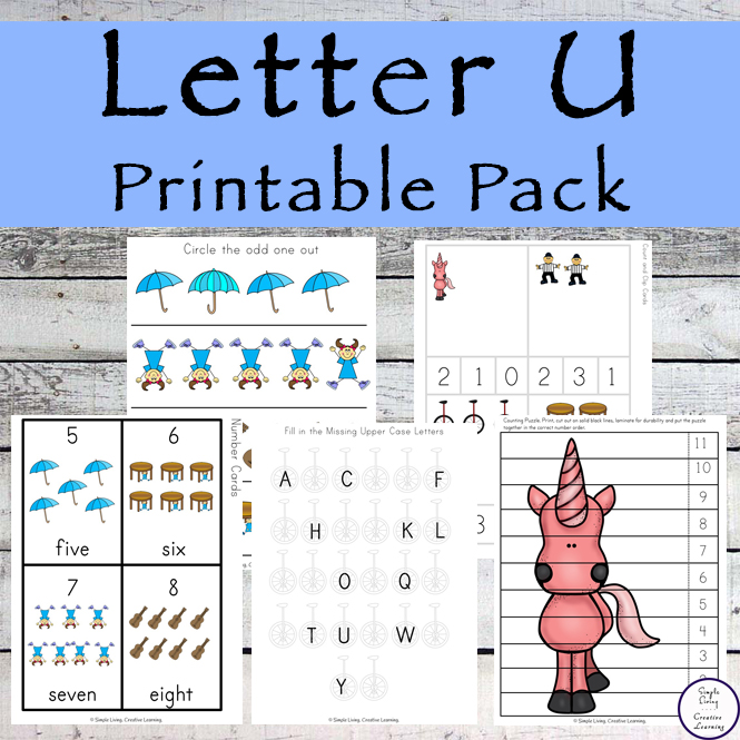 This Letter U Printable Pack is aimed for children aged 3 - 9 and contains a variety of activities; simple math concepts, literacy and hands-on activities.