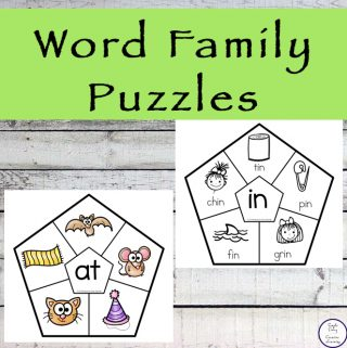 Printable Word Family Puzzles