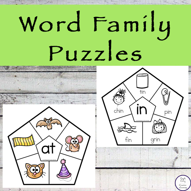 These Word Family Puzzles are a great way for children to learn 14 different word families. There are two sets of each puzzle, one for beginners and one for more advanced students.