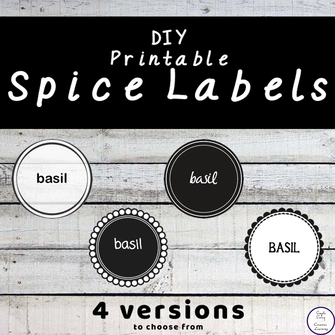 Get all your spices organised with these cute DIY Printable Spice Labels. There are four lovely designs to choose from!