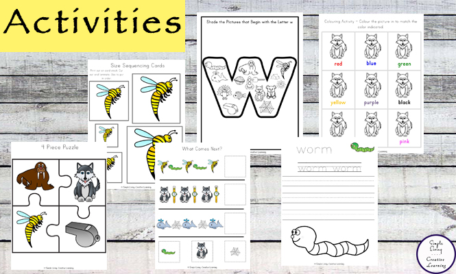 This Letter W Printable Pack is aimed for children aged 3 - 9 and contains a variety of activities; simple math concepts, literacy and hands-on activities.