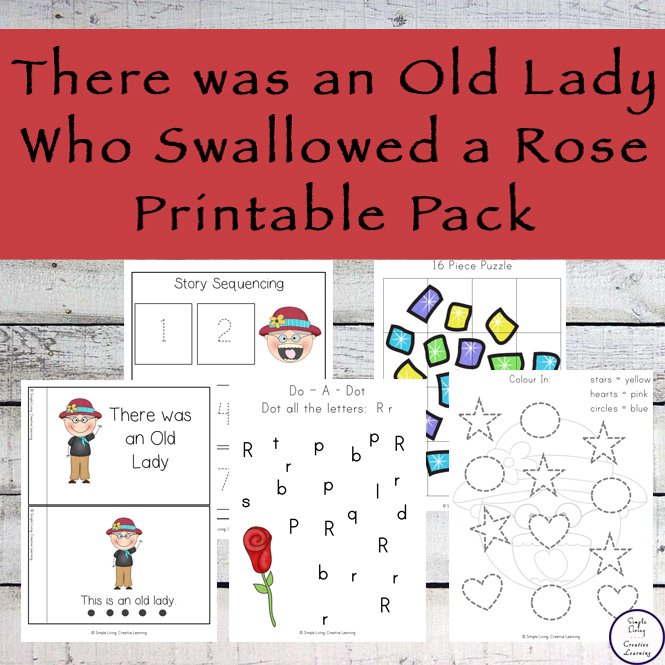 Lots of fun resources to go with the book, There was an Old Lady who Swallowed a Rose.