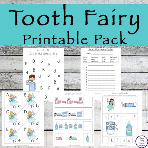 This Tooth Fairy Printable Pack contains over 100 pages of fun, dental-related activities for kids in preschool and kindergarten.
