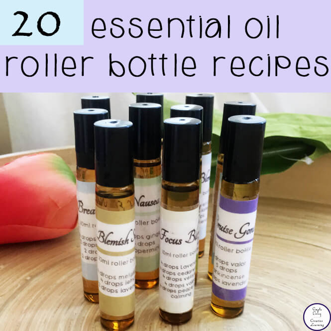 Roller bottles are one of the easiest ways to use essential oils. They make topical application simple. This is a collection of 20 Essential Oil Roller Bottle Recipes that I always have pre-made and ready to go.
