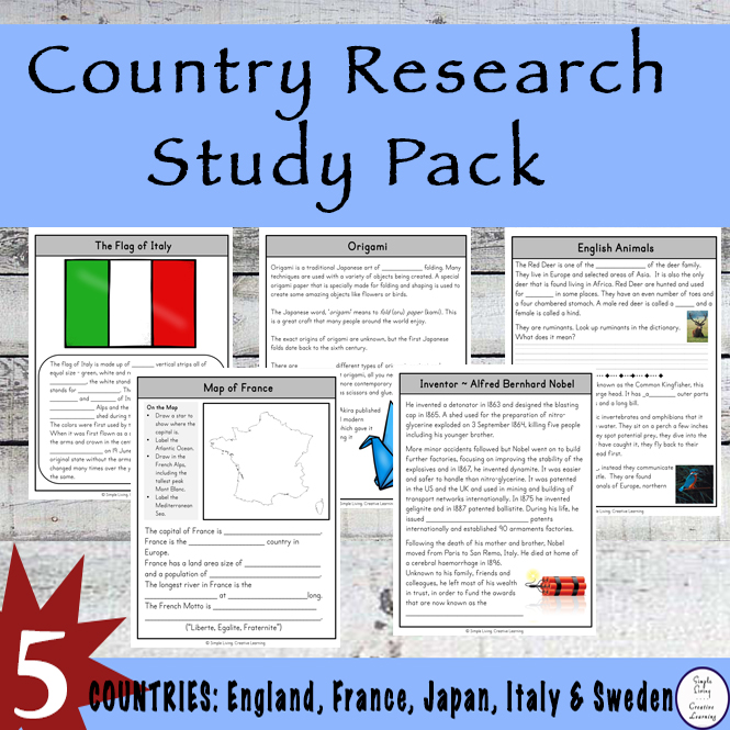 Take a trip around the world with this exciting Country Research Study Pack. The countries visited in this pack are France, England, Sweden, Italy and Japan.