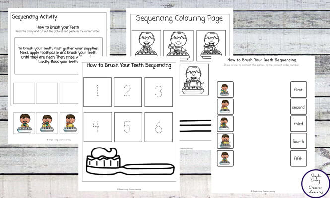 This fun How to Brush your Teeth Sequencing Printables not only help young children learn how to brush their teeth, but they are also able to work on their sequencing skills too.