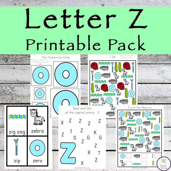 This Letter Z Printable Pack is aimed for children aged 3 - 9 and contains a variety of activities; simple math concepts, literacy and hands-on activities.