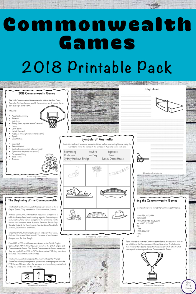 2018 Commonwealth Games Printables - Simple Living. Creative Learning
