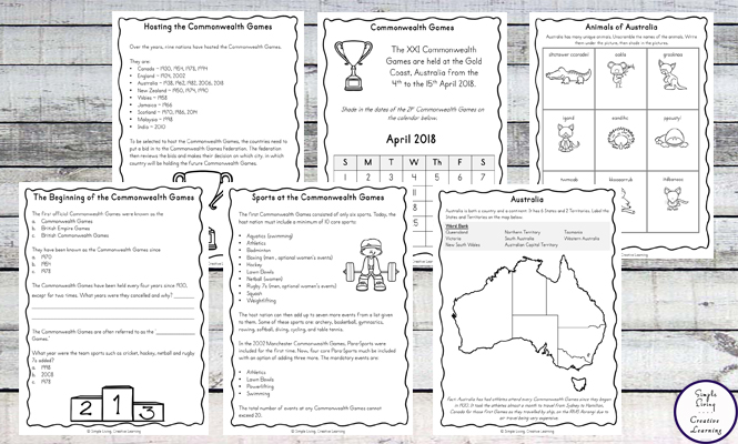 2018 Commonwealth Games Printable Pack - Simple Living. Creative ...