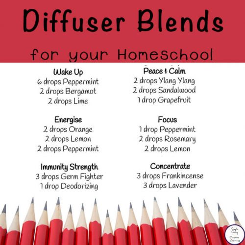 This list of diffuser recipes for your homeschool contains recipes for all aspects of your homeschool including fatigue, concentration, focus, healthy home and a strong immune system as well as a good night's sleep.