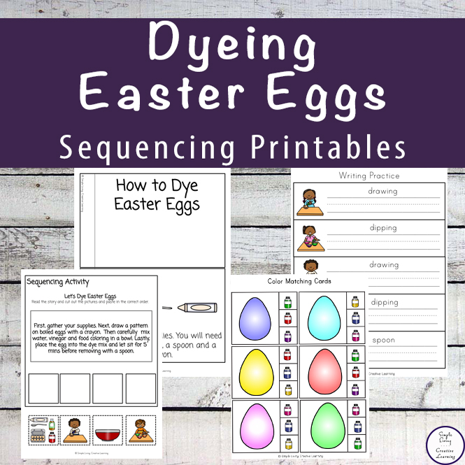 This Dyeing Easter eggs Sequencing Printable Pack is a great way to teach children how to dye eggs before attempting to make your own colourful egg creations.