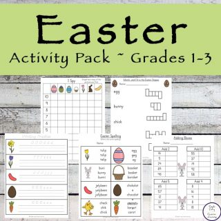 This Easter Activity Pack is aimed at children grades one and three and is full of all the fun things kids love, while helping them practice their math and literacy skills.