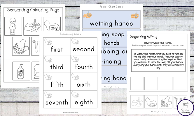 This fun How to Wash Your Hands Sequencing Printables not only help young children learn how to wash their hands properly, but they are also able to work on their sequencing skills too.
