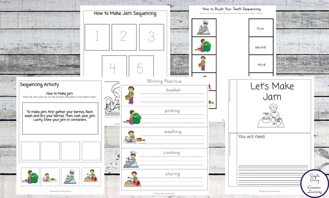 This Making Jam Sequencing Pack is a great way to teach your children the basics of making jam, and about the sequencing of events that need to take place to make jam.
