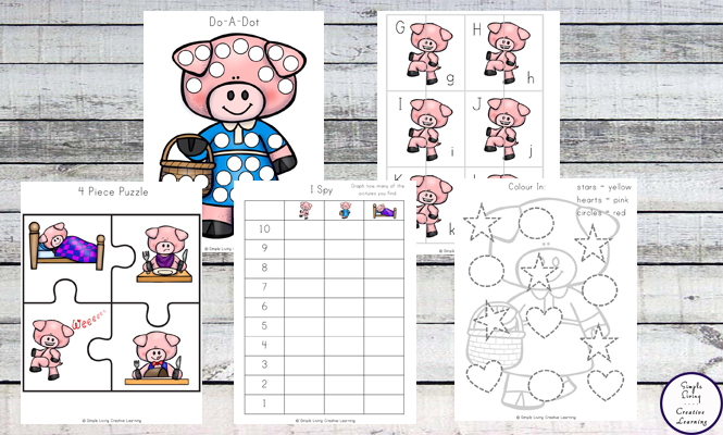 This Little Piggy printable pack is aimed at children in kindergarten and preschool and includes over 80 pages of fun and learning.