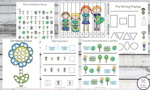 This Earth Day Printable Pack is aimed at children in Preschool and Kindergarten and is full of fun math and literacy activities.
