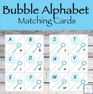Printable Bubble Alphabet Matching Cards