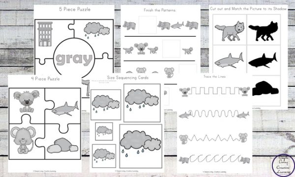 This Gray Printable Pack is aimed for children aged 3 - 9 and contains a variety of activities; simple math concepts, literacy and hands-on activities with a 'grey' theme.