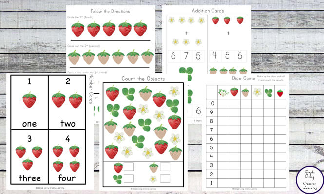 This Strawberry Patch Printable Pack is so much fun and filled with lots of math and literacy activities for kids in preschool and kindergarten.