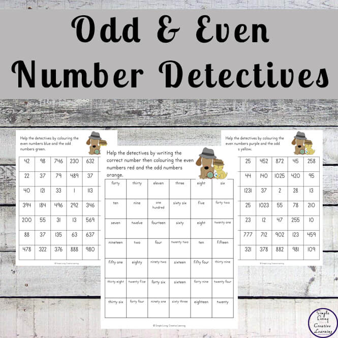 Odd and Even Number Detectives printable pack