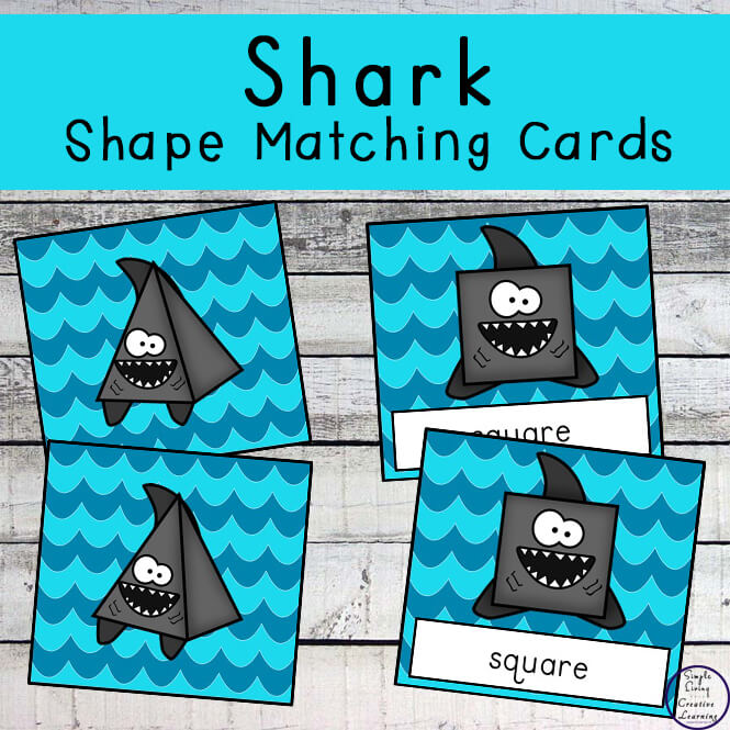 A fun way to learn to recognise 2d and 3d shapes is with these fun shark shape matching cards.