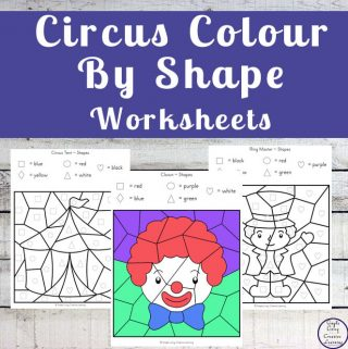 Circus Colour by Shape Worksheets