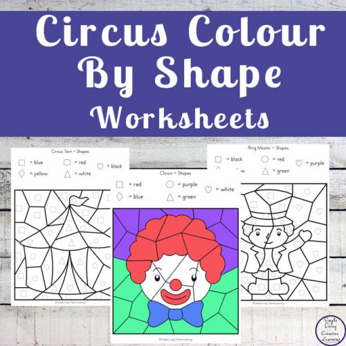 These Circus Colour by Shape Worksheets are an engaging way to practice shape and colour recognition while working on fine motor skills.