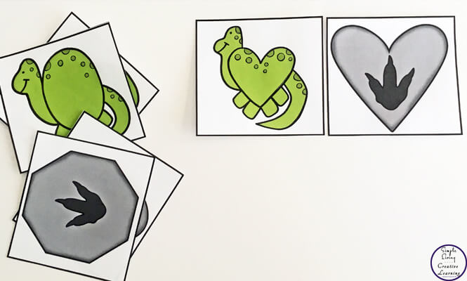 These cute dinosaur shape matching cards are a great way to introduce children to many different 2d shapes.