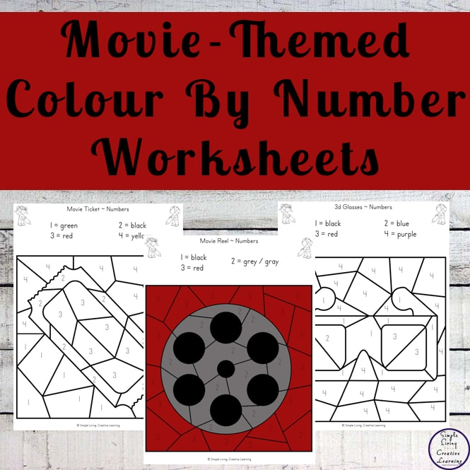 These Movie Night Colour by Number Worksheets are an engaging way to practice shape and colour recognition while working on fine motor skills.