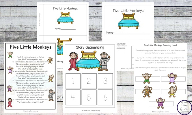 This is such a fun little rhyme that can be used to teach your child counting and number recognition with the help of this Five Little Monkeys Printable Pack.