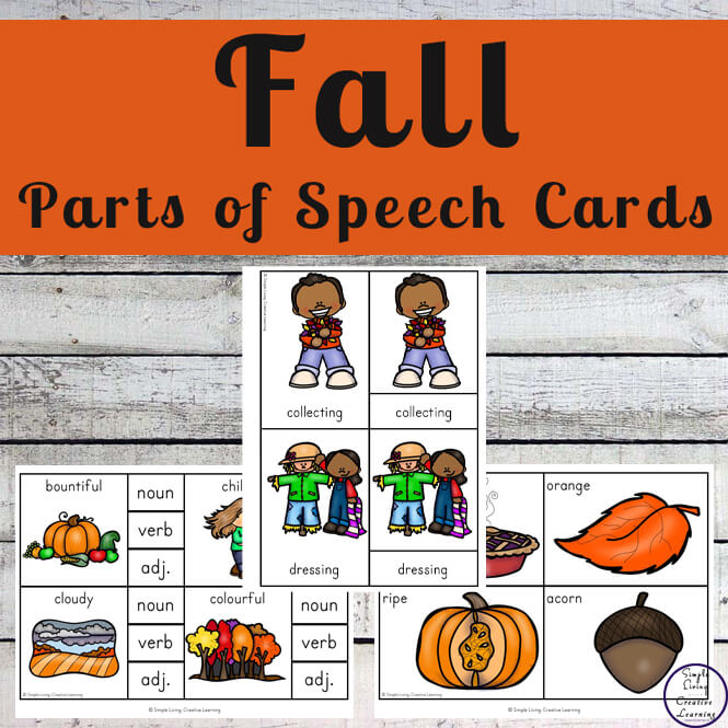 These Fall / Autumn Parts of Speech Cards are can be used in a variety of ways to teach your children about nouns, verbs and adjectives.