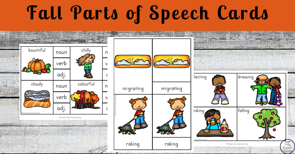 Autumn Fall Parts Of Speech Cards Simple Living