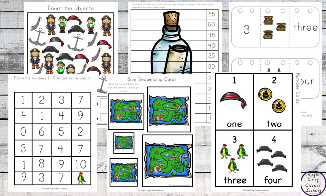 This exciting Pirate Printable Pack, aimed at children in preschool and kindergarten, is jam packed with lots of math and literacy activities that will be enjoyed by all pirate fans.